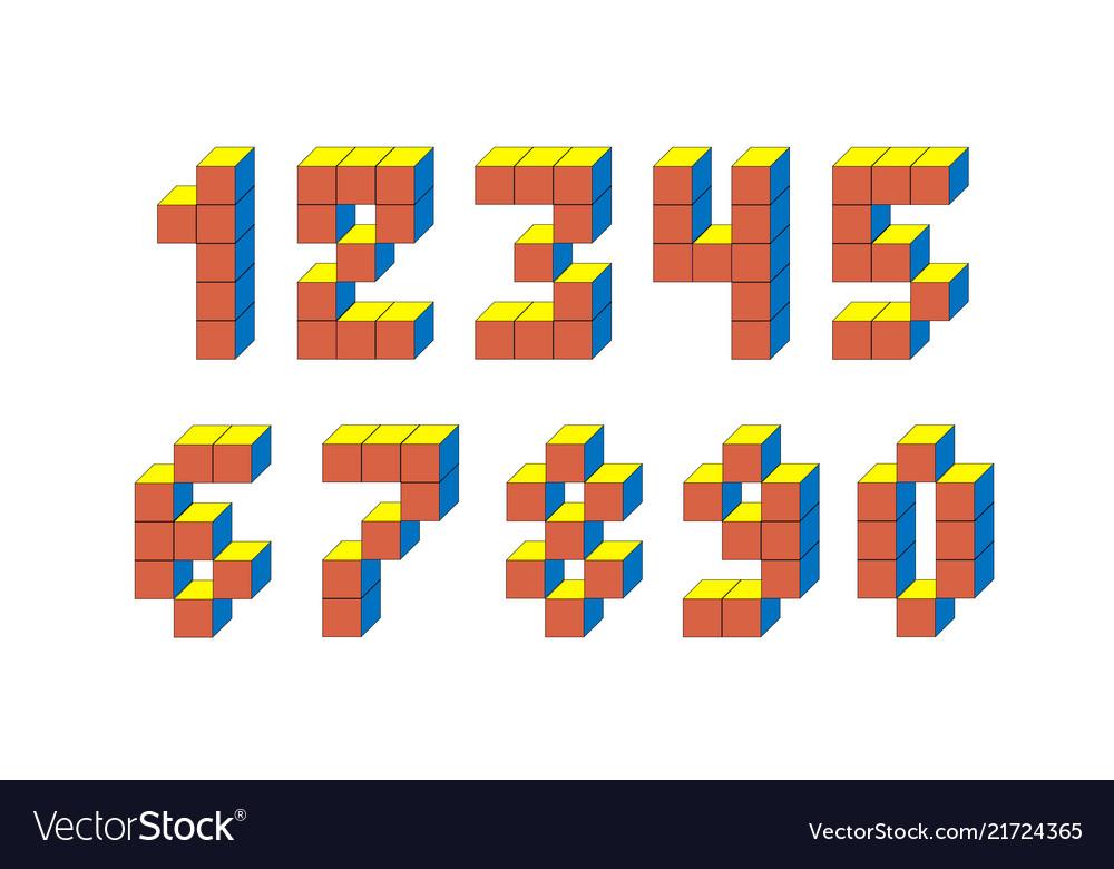 Pixel retro video game numbers 80 s retro
