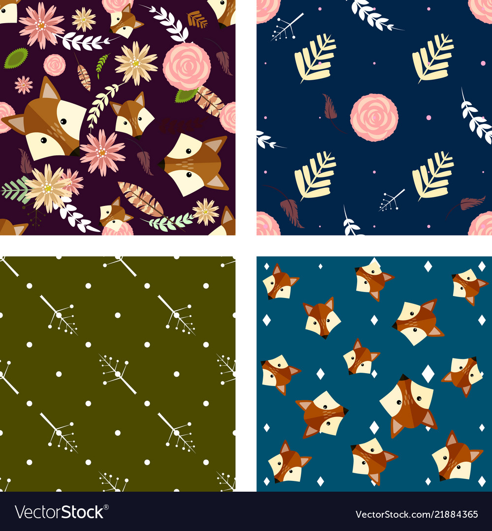 Set of four seamless pattern with cute floral