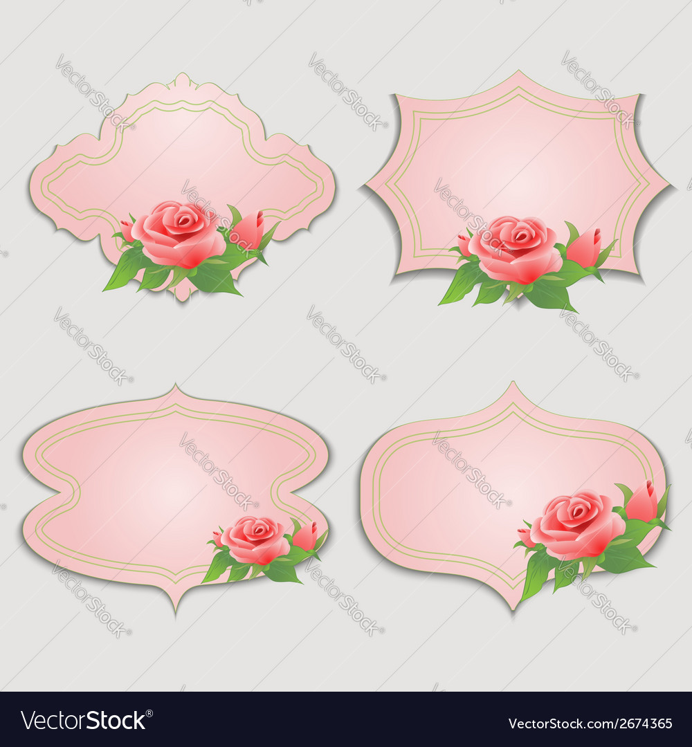 Set of vintage greeting cards with rose royalty free vector set of vintage greeting cards with rose vector image m4hsunfo
