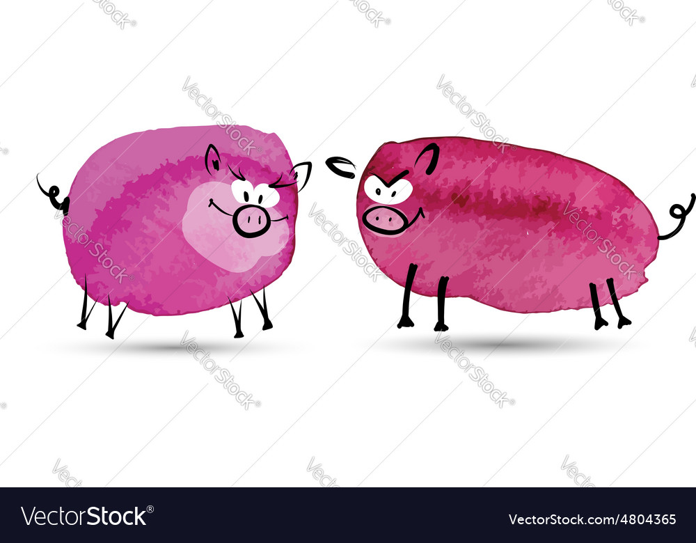 Two funny pig Watercolor sketch for your design vector image