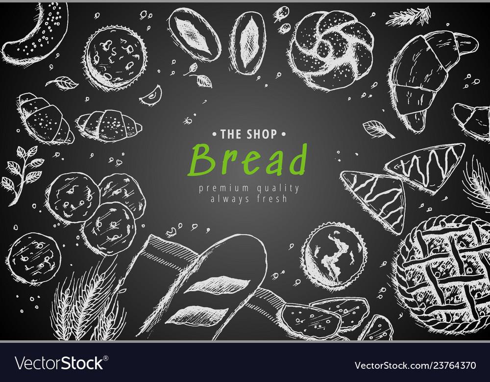 Bakery vintage background design hand