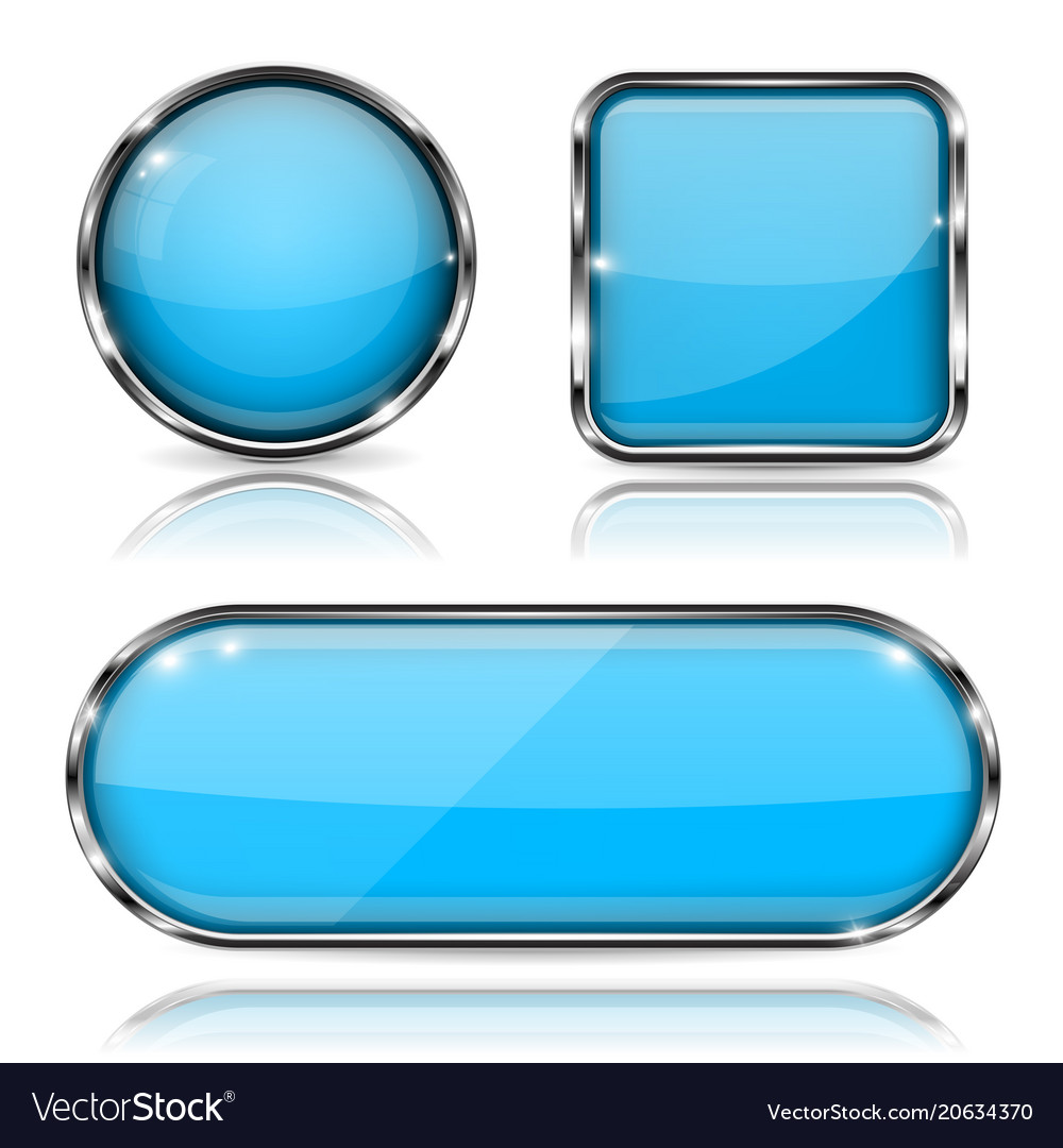 b1c1537982f Blue glass buttons with chrome frame set of shiny Vector Image