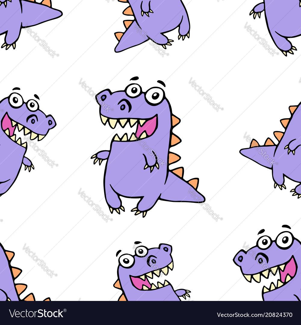 Cute purple smiling dinosaur pattern