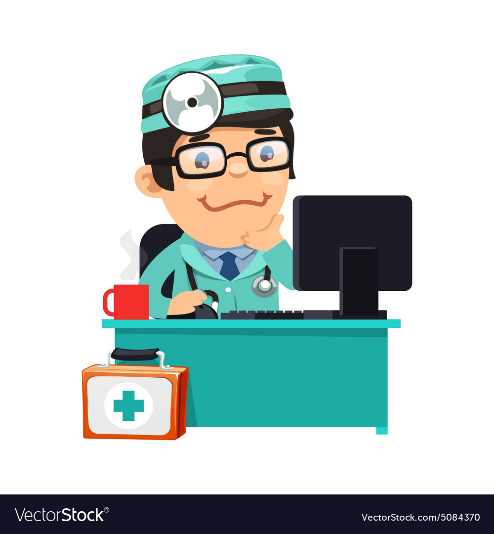 Doctor at His Desk vector image