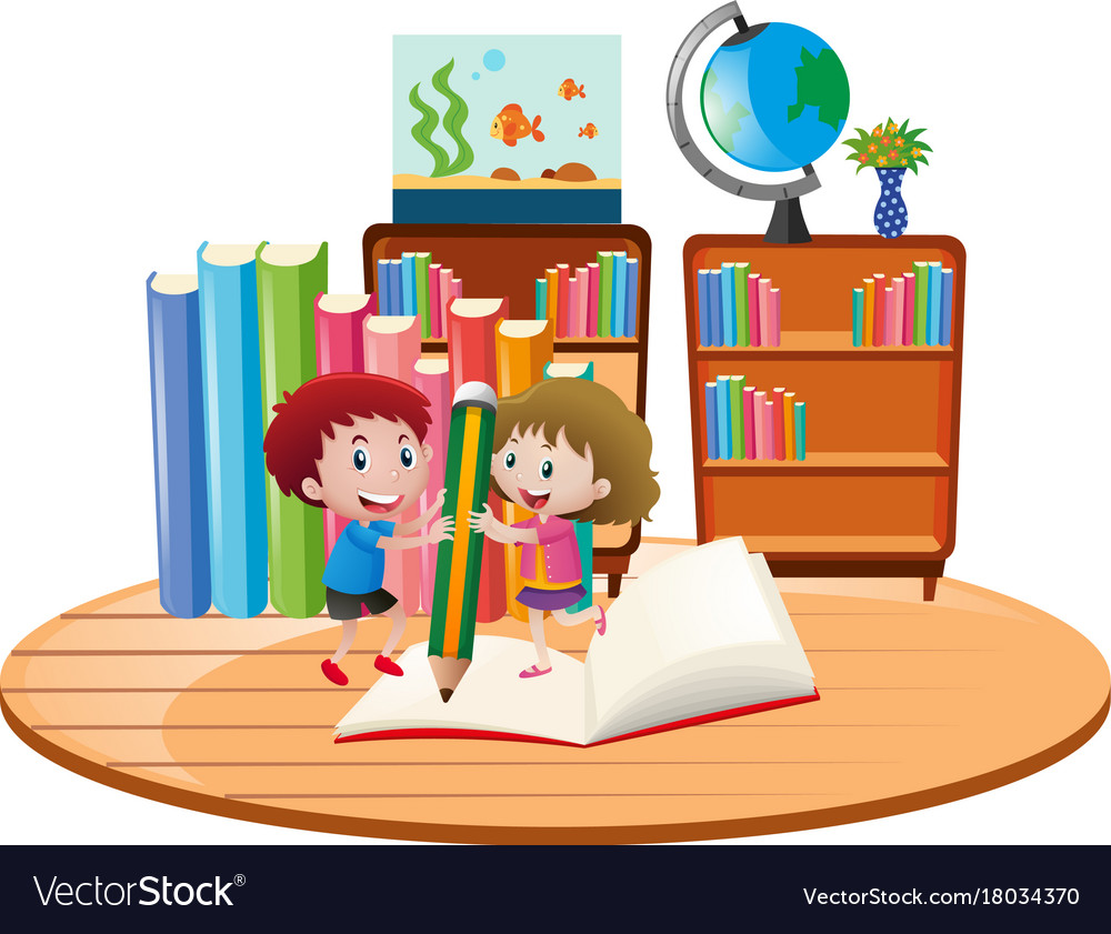 educational theme with kids writing on book vector image