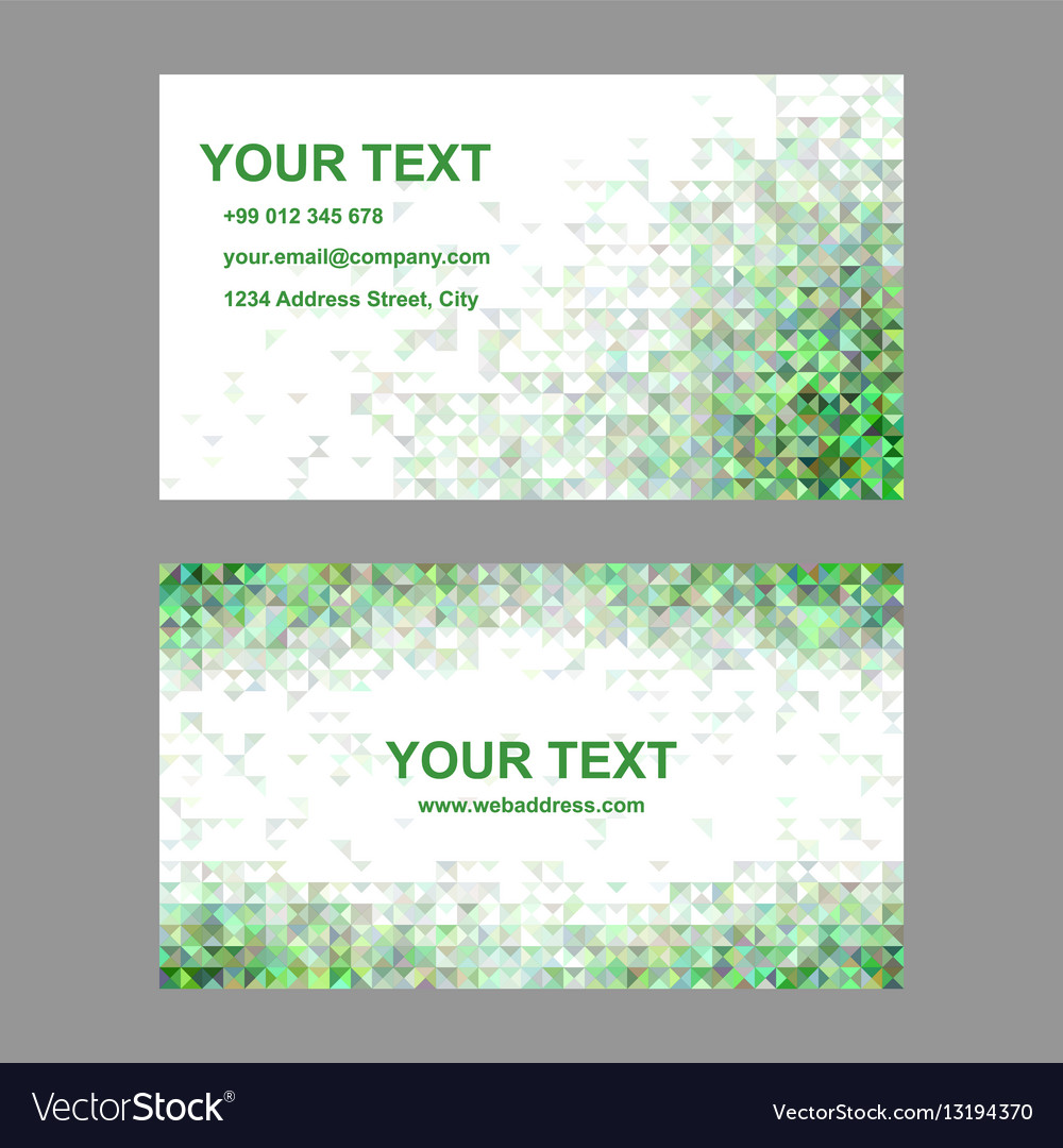 Green triangle mosaic business card template vector image reheart Gallery