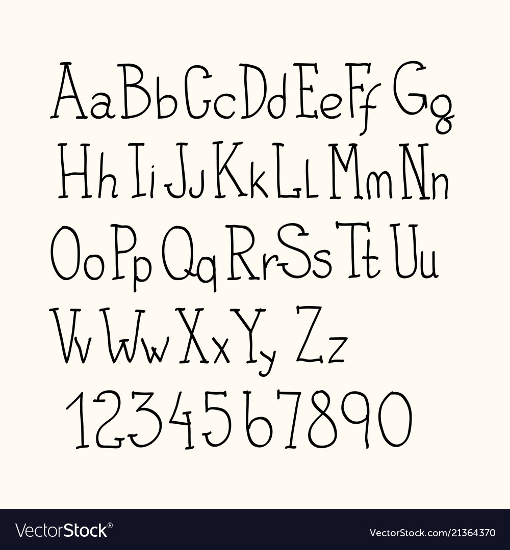 Hand drawn alphabet letters with numbers