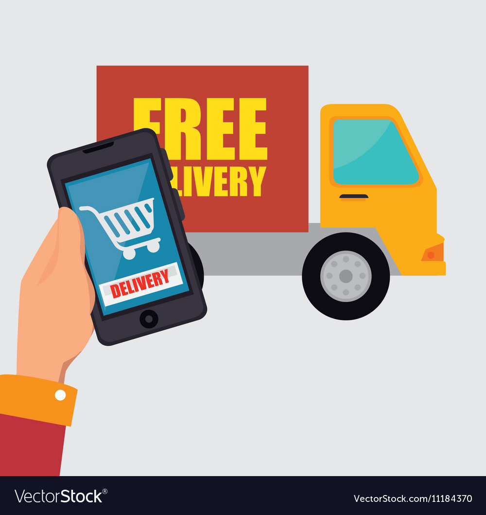 Hand hold smartphone delivery shopping truck