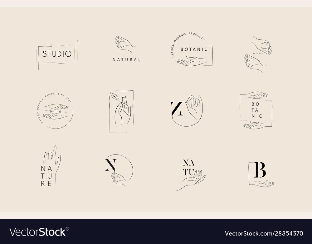 Logo design template in trendy linear minimal