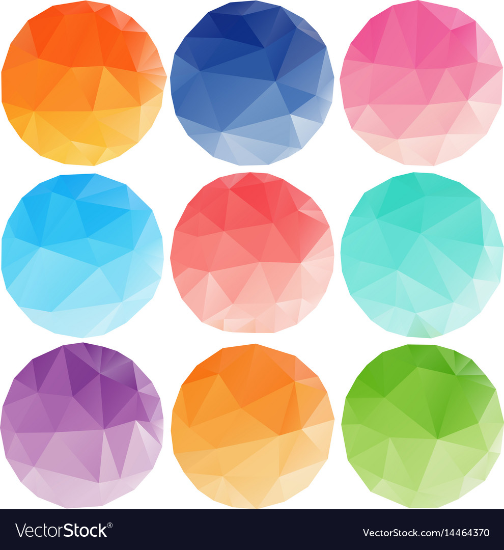 Low poly circles with different colours