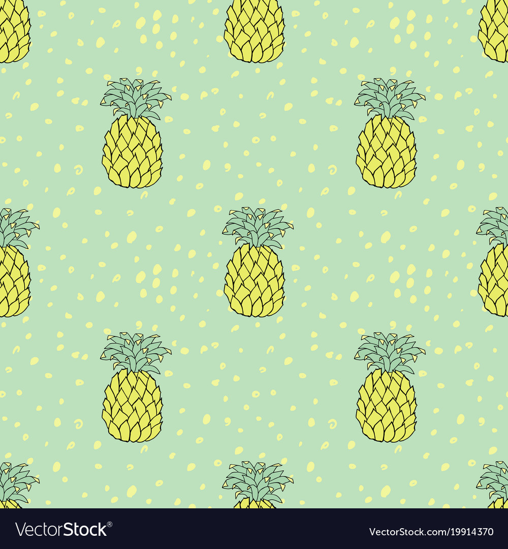 Pineapples seamless pattern tropic green and