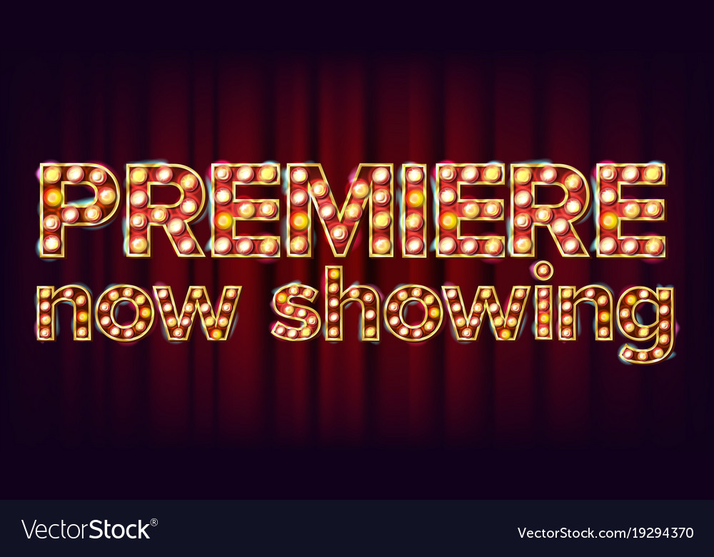 Premiere now showing poster cinema glowing vector image