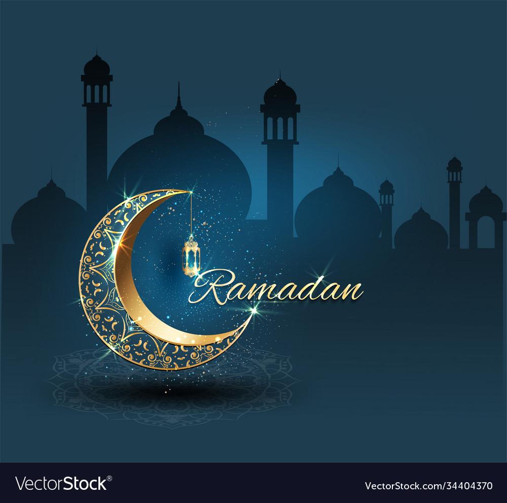 Ramadan kareem with crescent moon gold luxurious