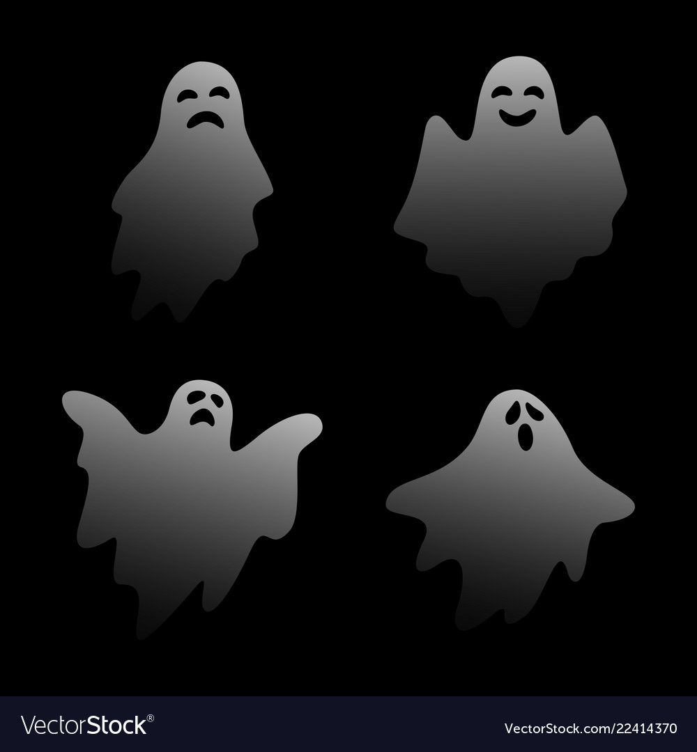 Scary ghost characters set with different face exp