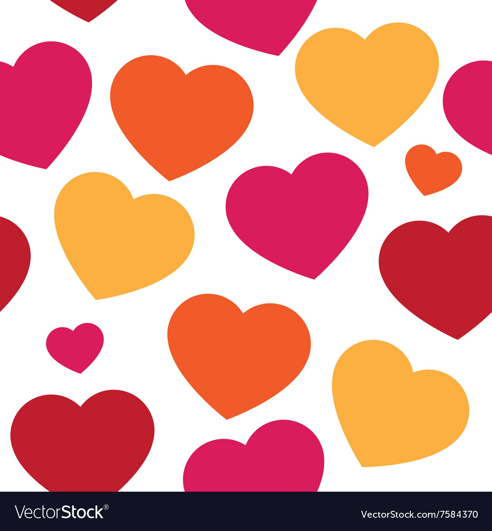 Seamless pattern with hand paint hearts
