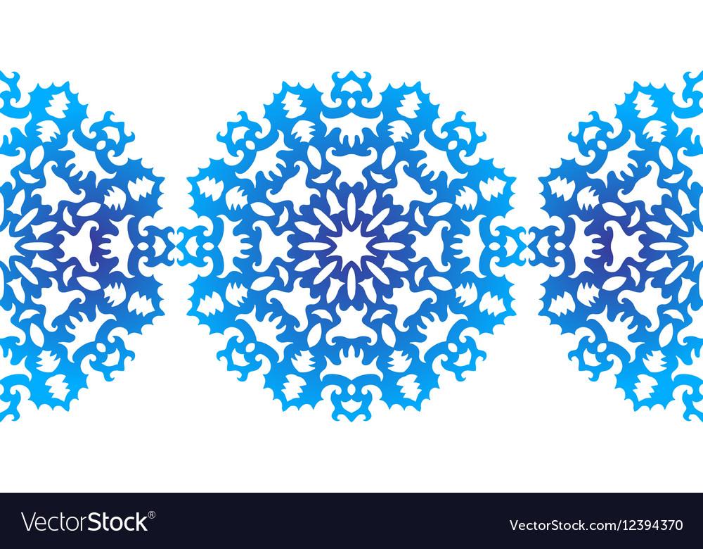 Snowflake Christmas pattern Circular ornament vector image