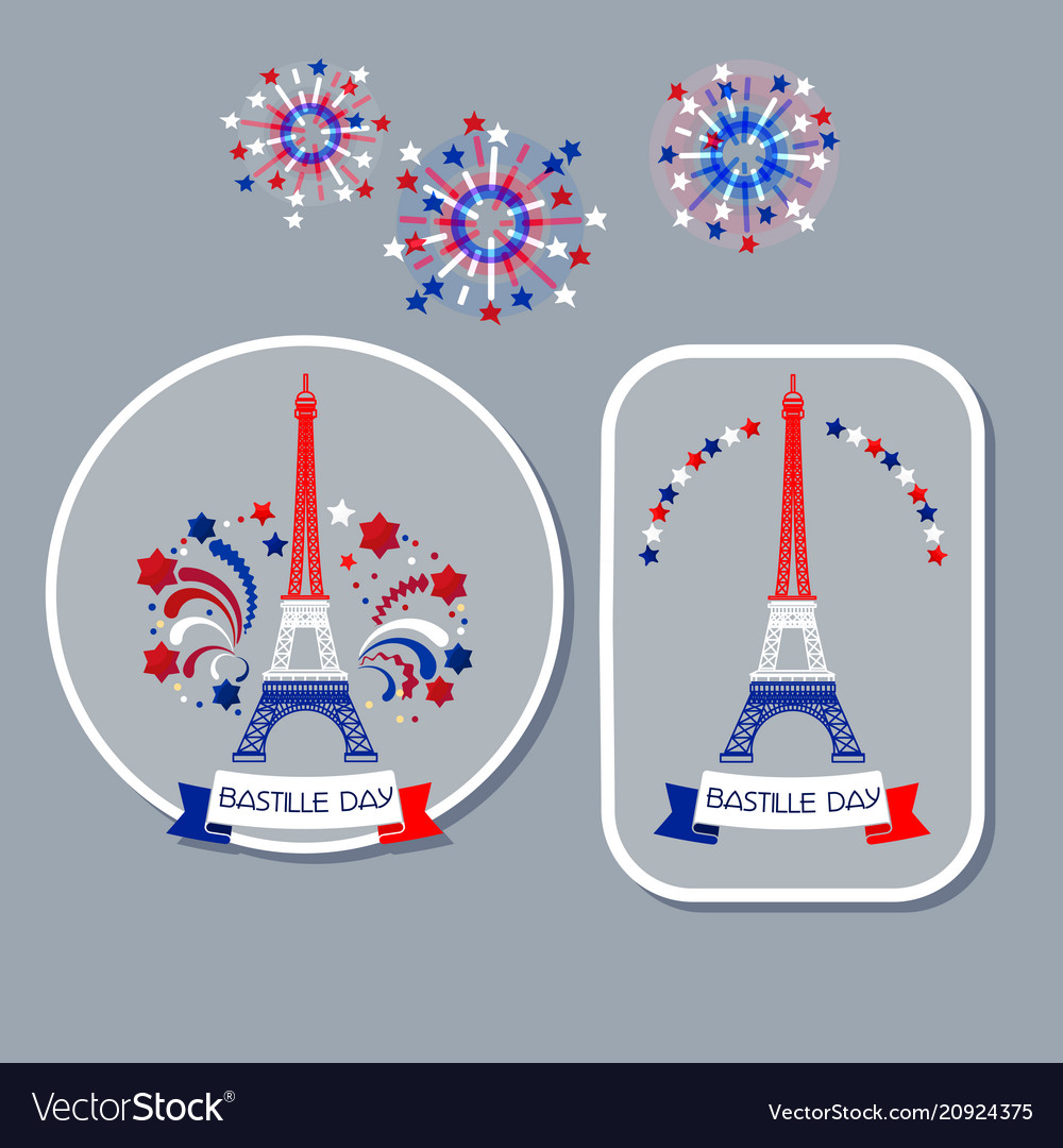 Bastille day badges eiffel tower and fireworks