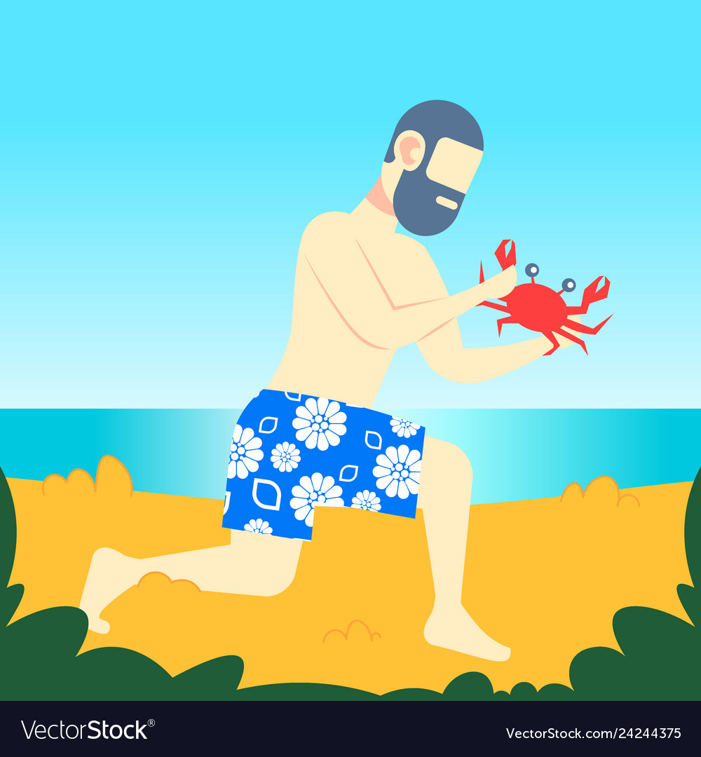 Bearded man holding big red crab with claws on sea