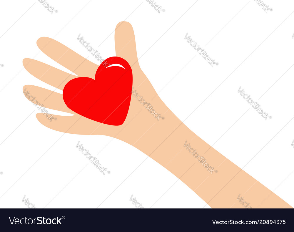 Big hand arm holding red shining heart shape sign vector image