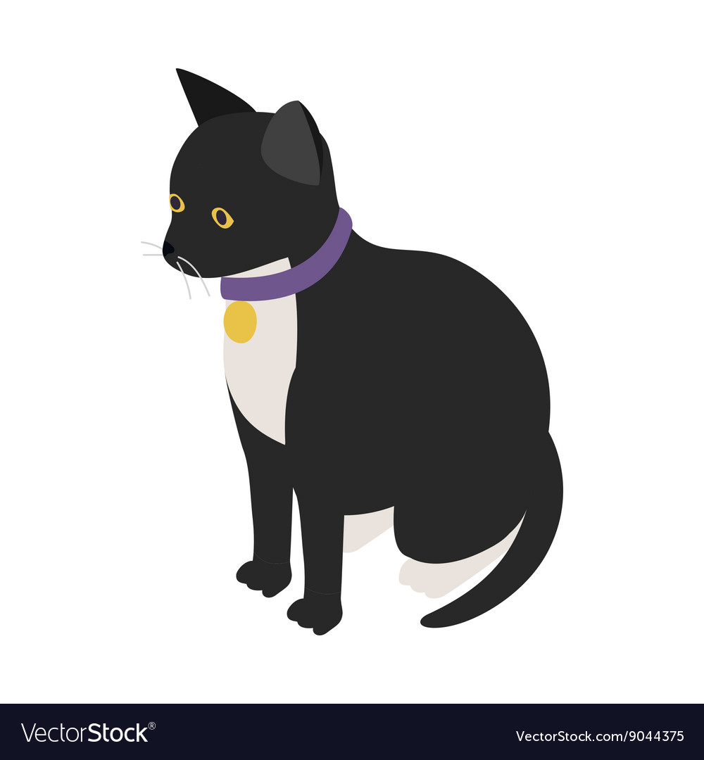 Black cat with collar icon isometric 3d style vector image