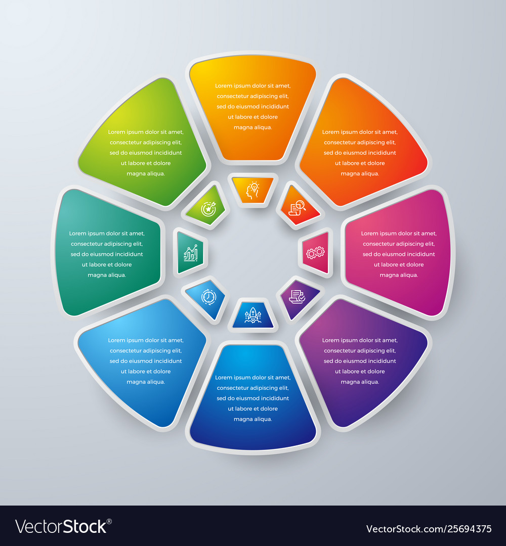 Business infographic design with 8 steps