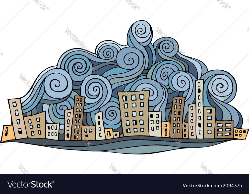 Cartoon abstract city vector image