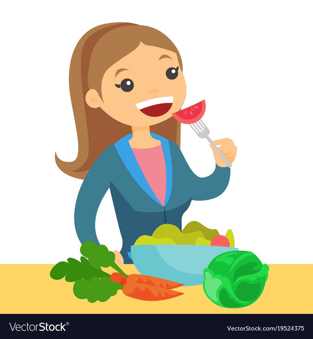 caucasian woman eating healthy vegetable salad vector image
