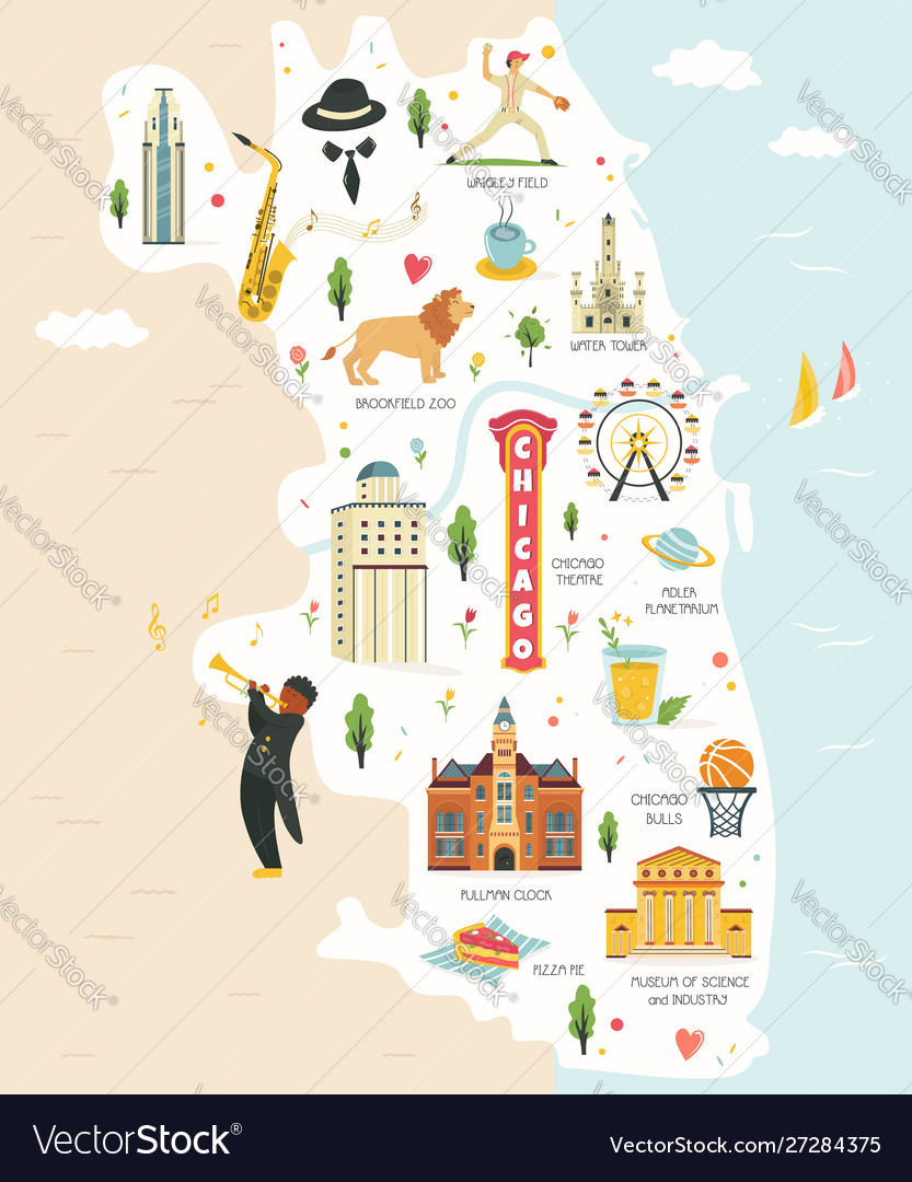 City map chicago with landmarks and symbols
