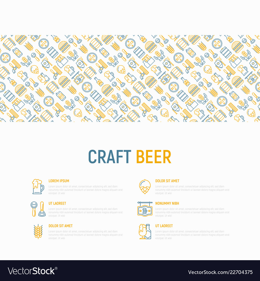 Craft beer concept with thin line icons