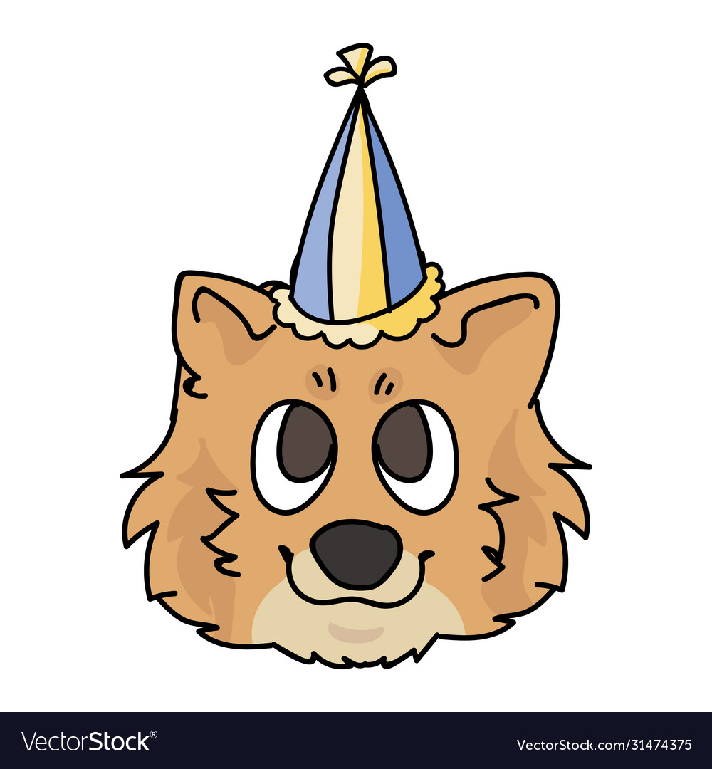 Cute Cartoon Pomeranian Puppy Face With Party Hat Vector Image