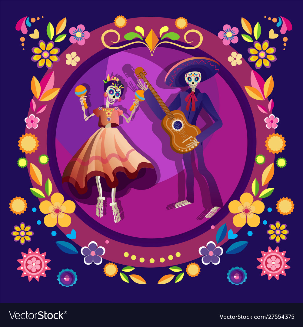 Dancing skeletons flat