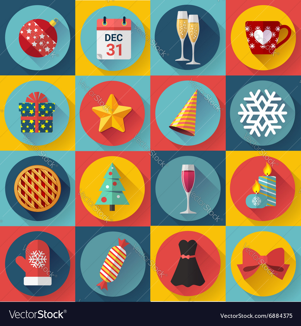 Flat color christmas icons for web and vector image