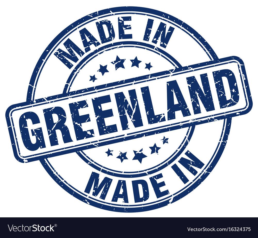 Made in greenland blue grunge round stamp vector image