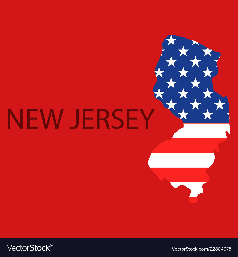 New Jersey State Of America With Map Flag Print Vector Image