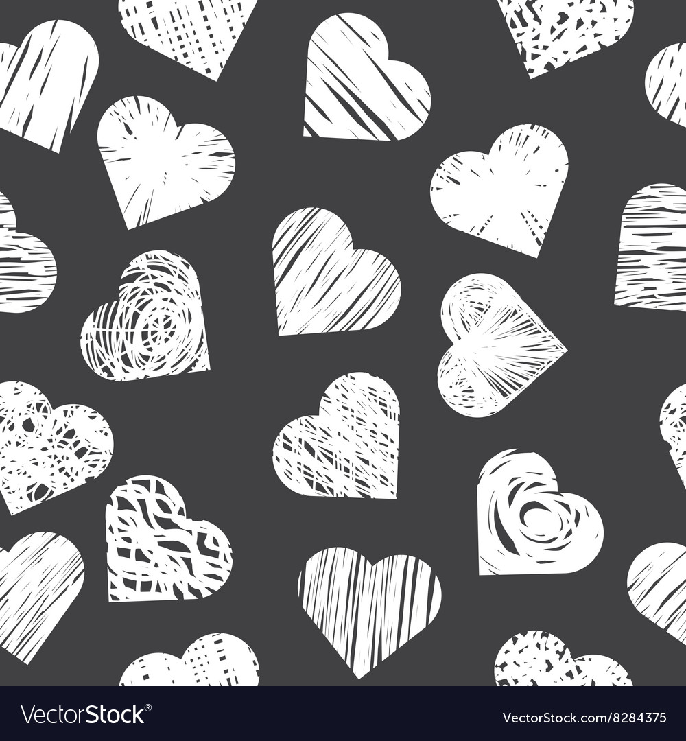 Seamless pattern with white hearts on black vector image