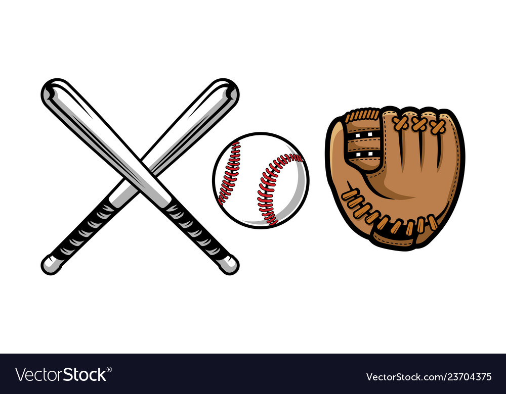 Set of baseball equipment contains bat gloves