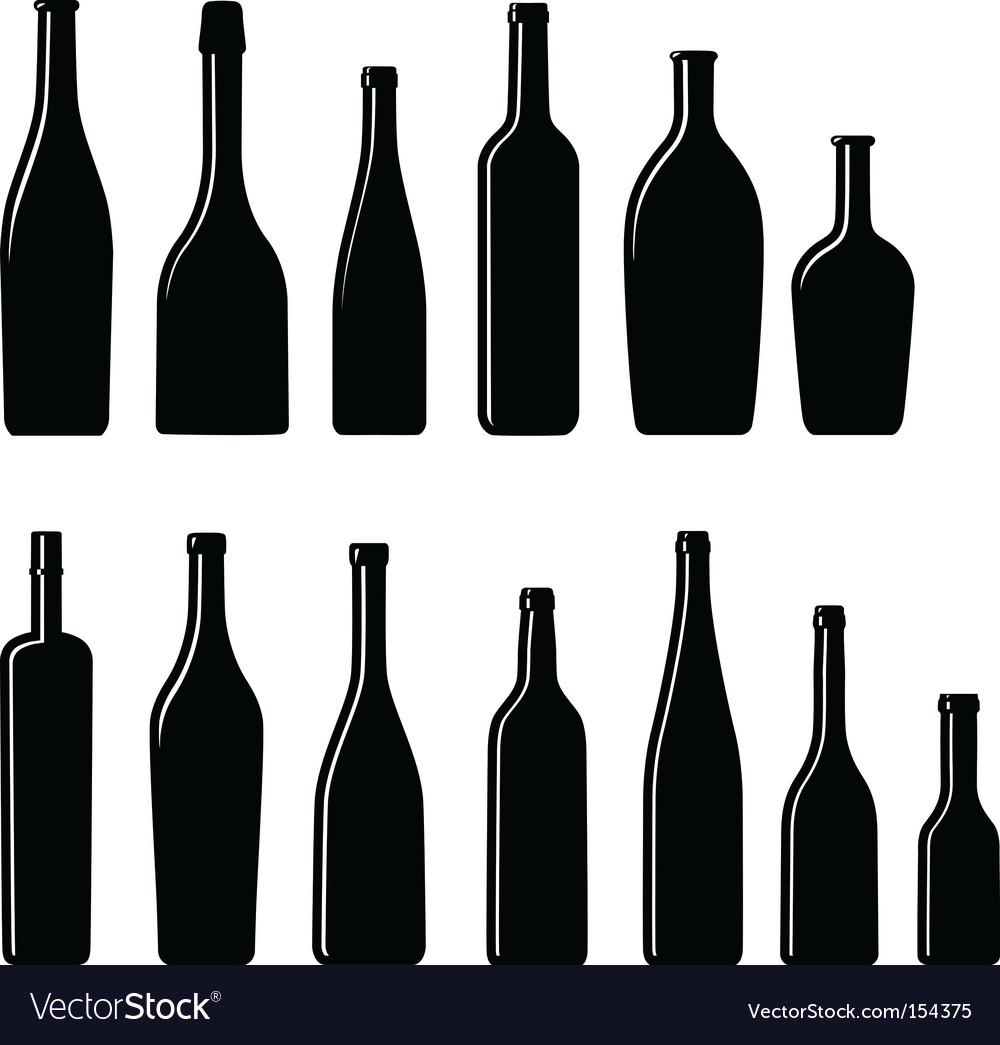 Silhouette bottles vector image