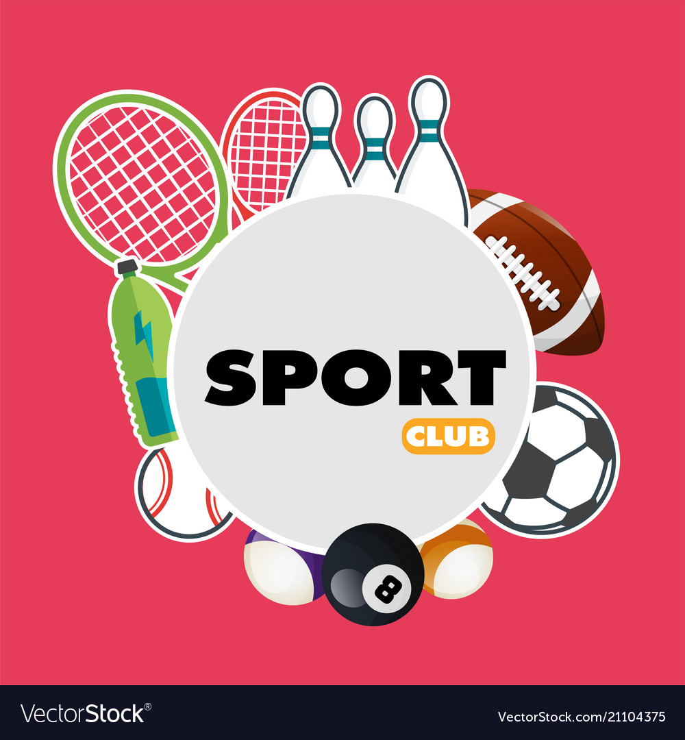 Sport club sport equipment pink background