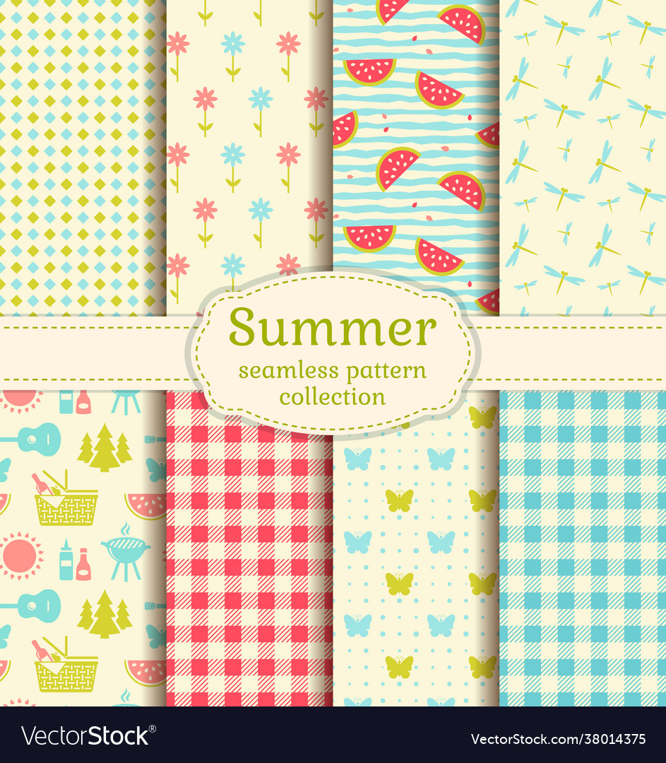 Summer picnic seamless patterns set