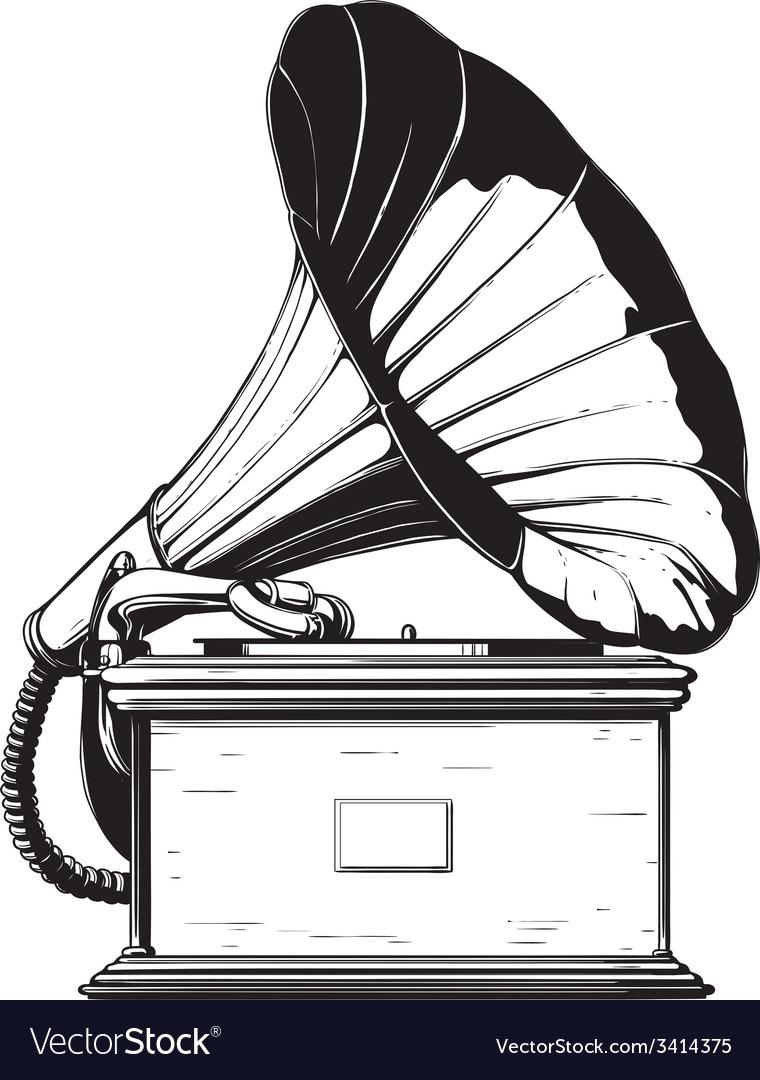vintage gramophone royalty free vector image vectorstock vectorstock