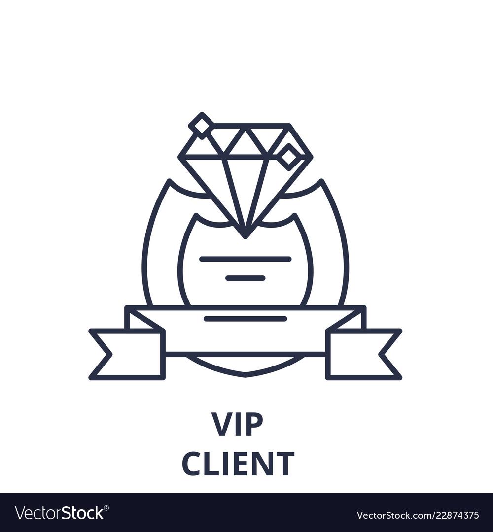 Vip client line icon concept vip client