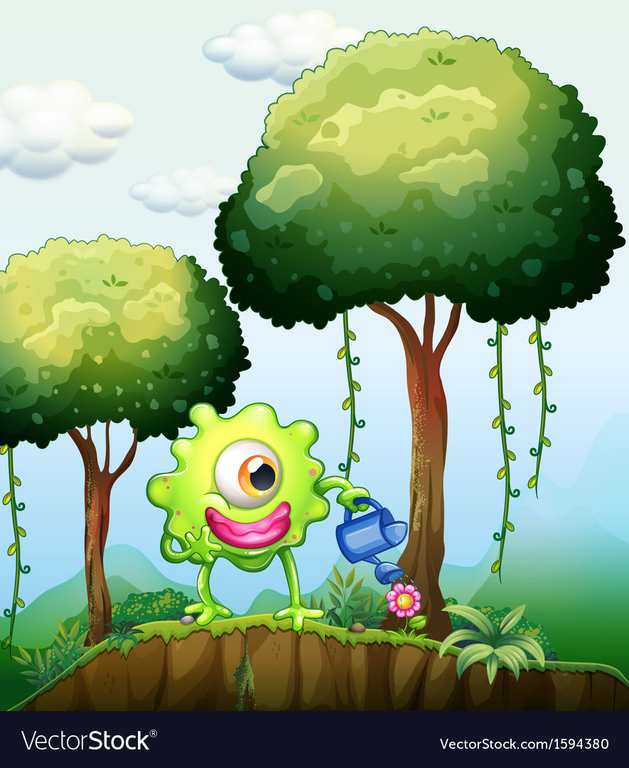 A monster watering the plants in the forest