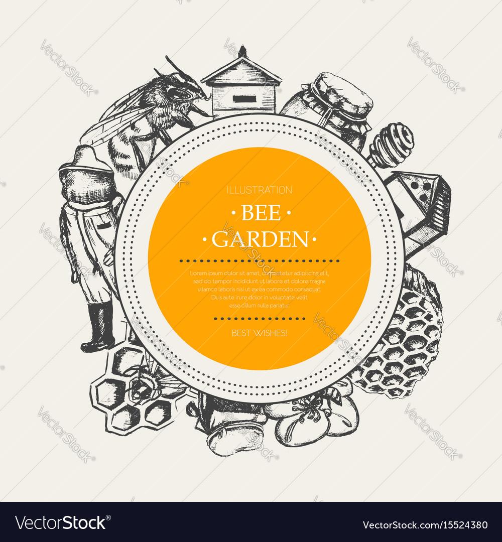 Bee garden - modern drawn round banner template vector image