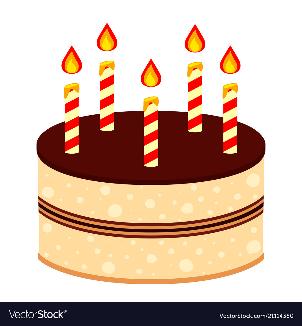 Colorful Cartoon Birthday Cake 5 Candles Vector Image