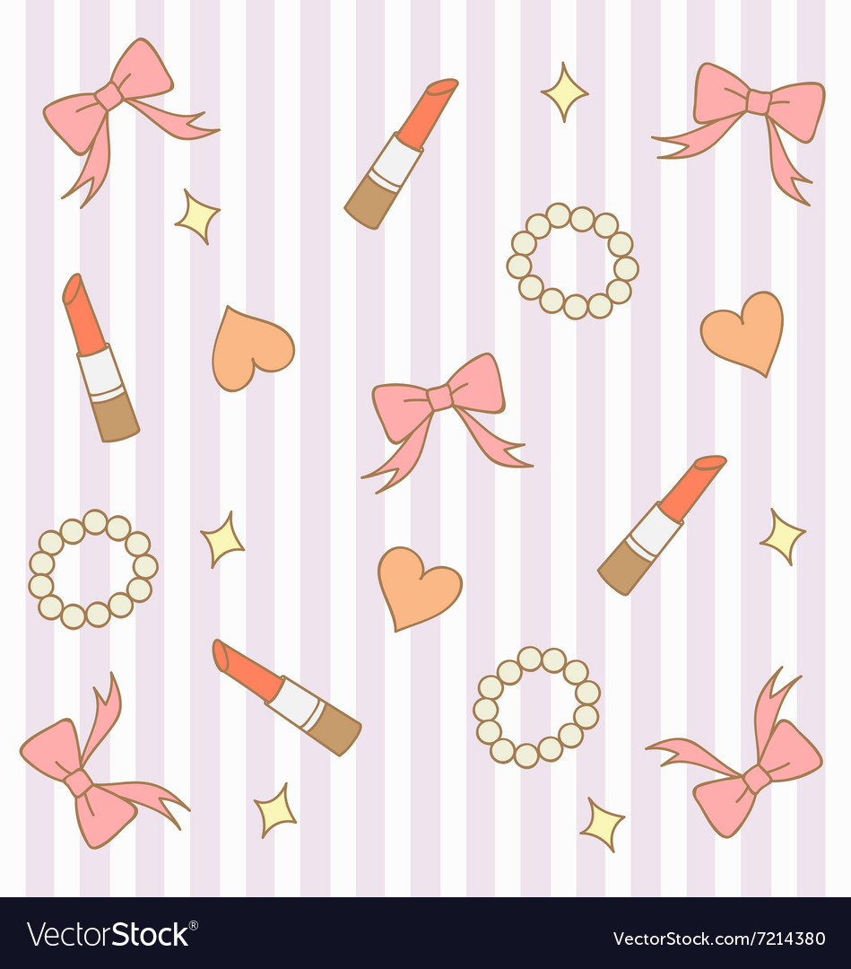 Cute pink pastel girly background 3 vector image