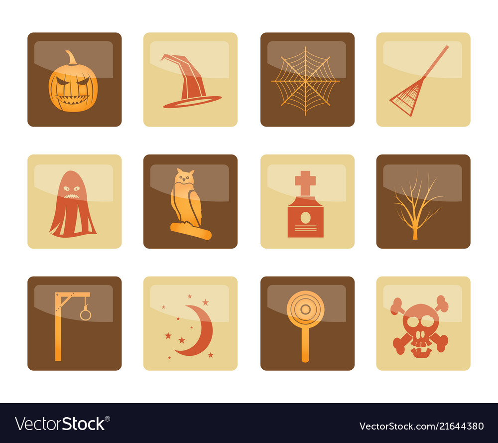 Halloween icon pack with bat pumpkin witch