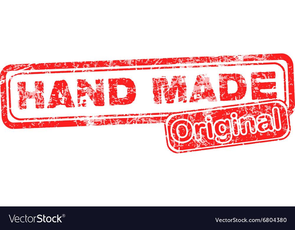 Hand Made Original red grunge rubber stamp
