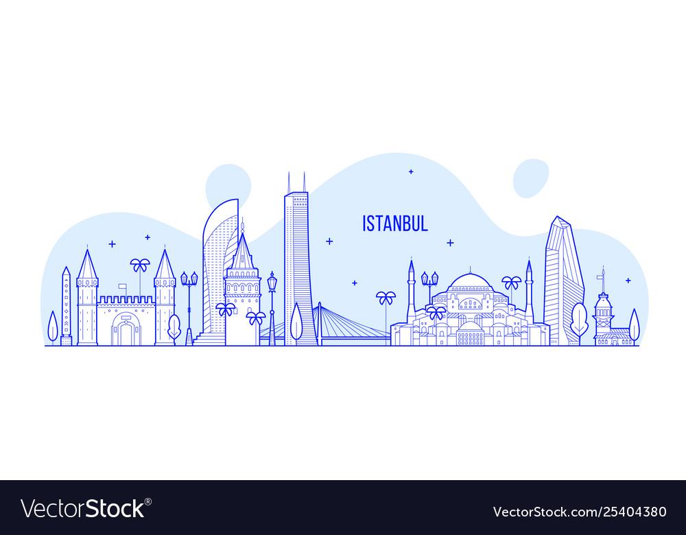 Istanbul skyline turkey city buildings line