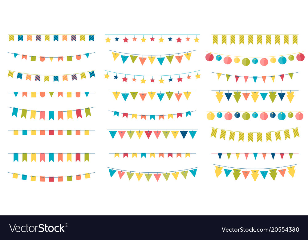 Multicolored bright buntings garlands isolated on