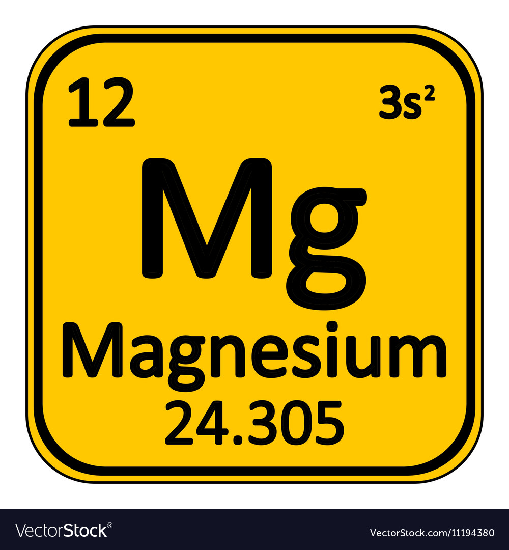 Periodic Table Element Magnesium Icon Royalty Free Vector